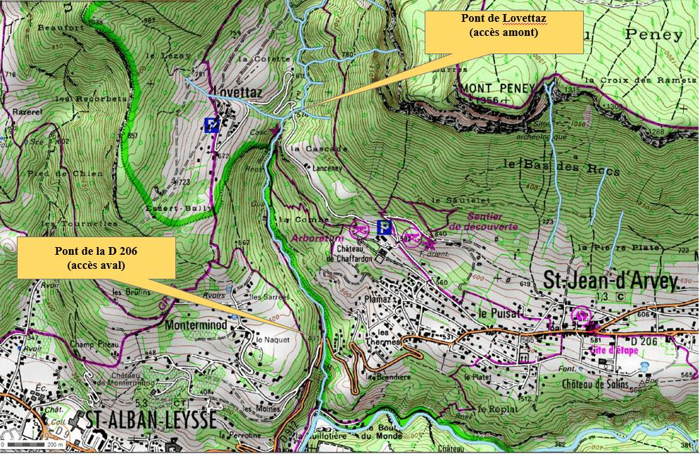 Le parcours de pêche de la Doria - Carte IGN : Chambéry (3332OT)