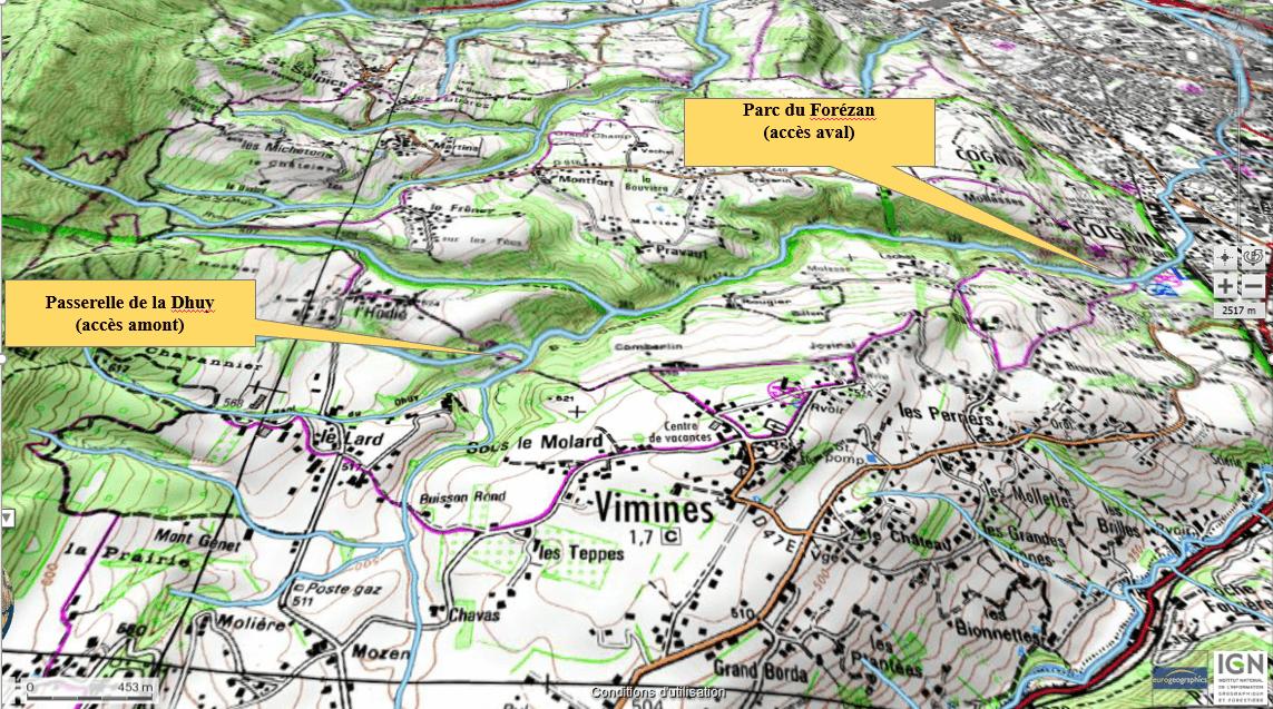 Le parcours de pêche du Forézan (carte IGN)