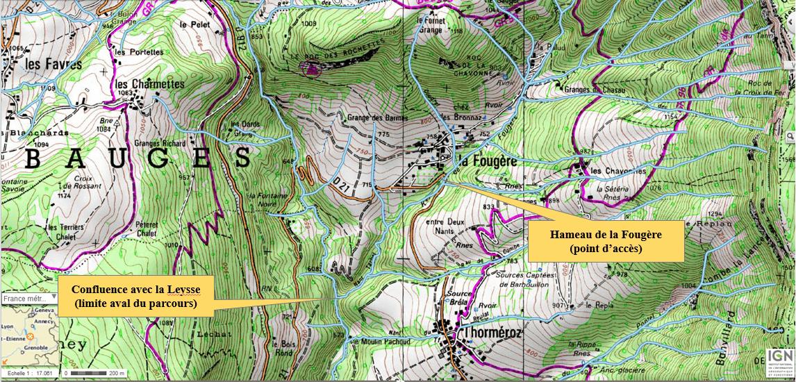 Le parcours de pêche du ruisseau de la Fougère. Carte IGN : Massif des Bauges (3432OT)
