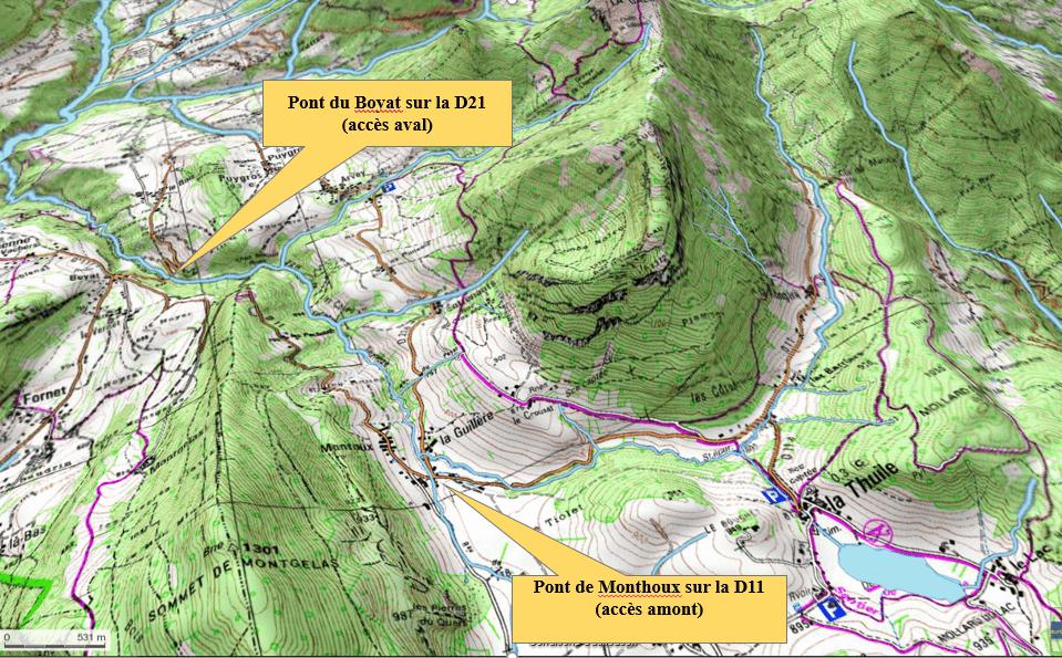 Le parcours de pêche du ruisseau de Ternèze - Carte IGN : Massif des Bauges (3333OT)