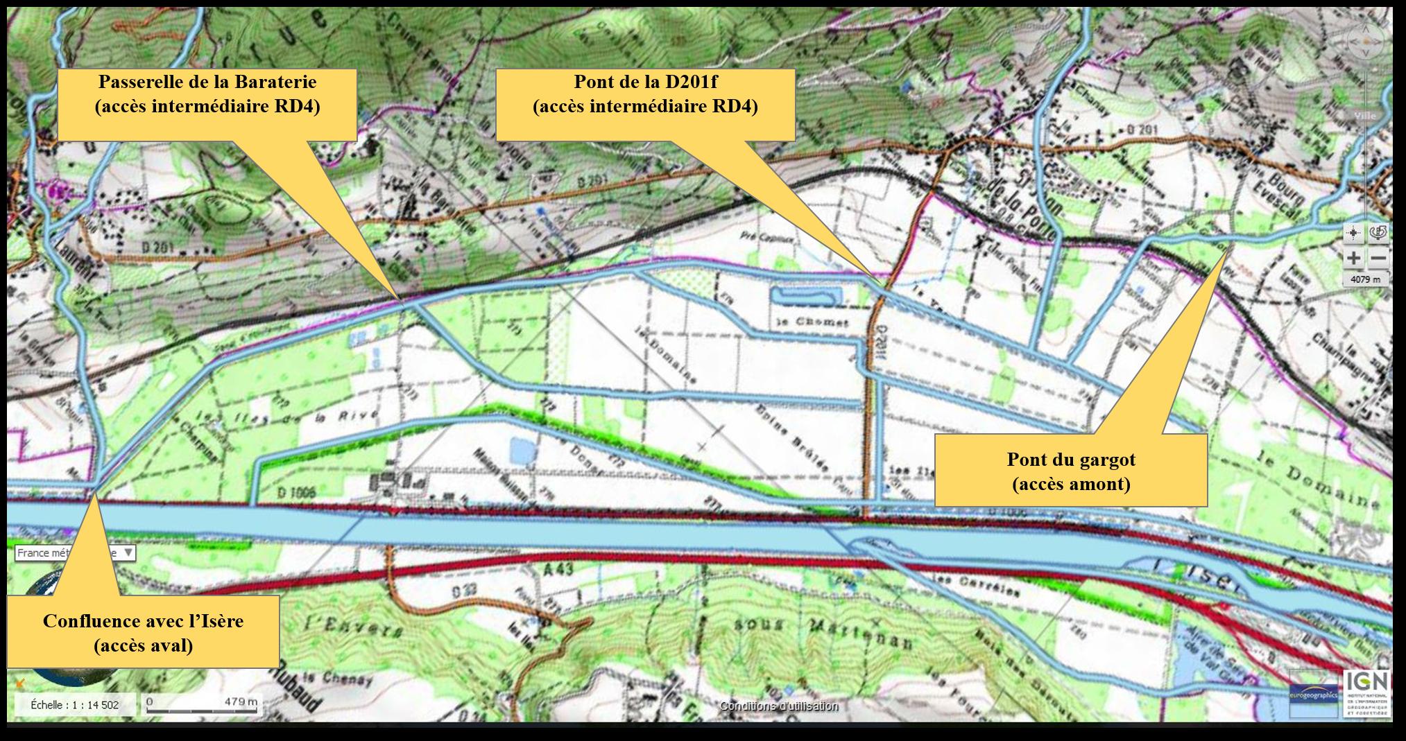 Le parcours de pêche du RD4 - Carte IGN : Massif des Bauges (3432 OT)